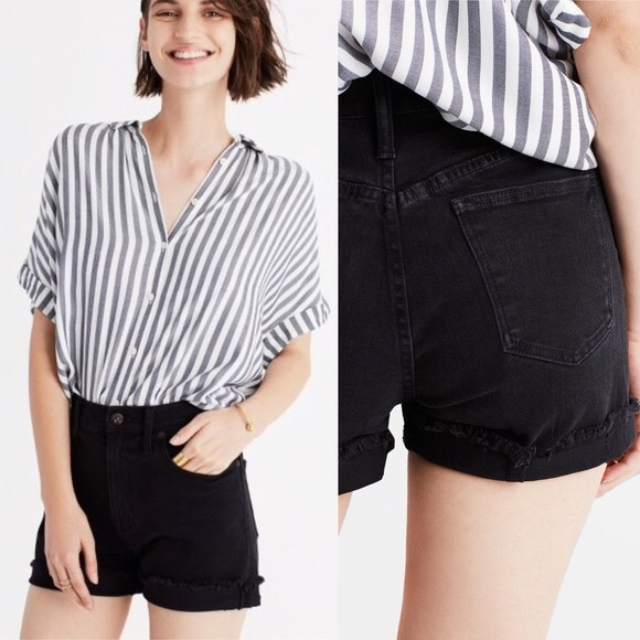 0ef60b525 Madewell Pants - Madewell • high-waisted black denim cutoff shorts